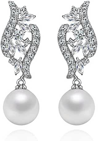 Hanie Simulated Pearl Drop Dangle Earrings Silver Tone White Crystal Engagement Jewelry