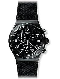 Swatch Men's Irony YVB402 Black Leather Swiss Quartz Watch