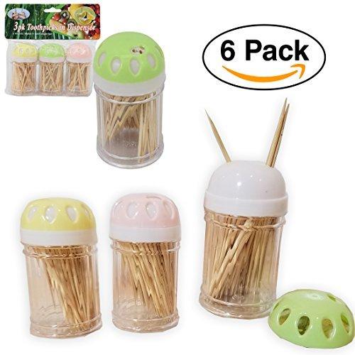 6 Pack - Toothpicks in Dispenser Wooden 90 each x 6 4 Seasons