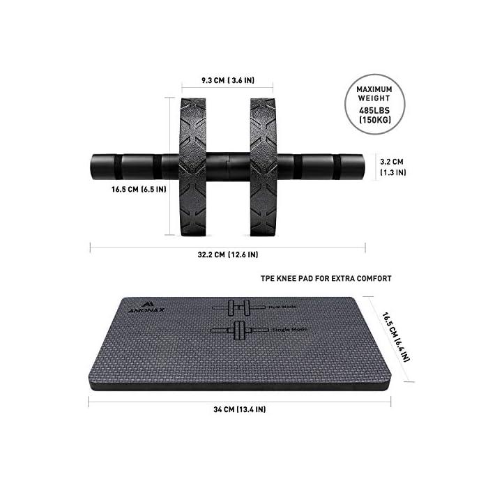 5179tN%2BlBSL Entrenador core efectivo: diseño portátil y liviano para entrenamiento de abdominales en el gimnasio o simplemente para usar en casa. Fortalece y define tus abdominales, ¡listo para el verano! Es un equipo de entrenamiento de fuerza ideal para hacer ejercicio en casa. Modo dual: el soporte más ancho del rodillo ab brinda más estabilidad y control, especialmente útil para principiantes. Desplácese con confianza utilizando nuestro robusto marco de rueda y nuestra barra de metal sólido extra gruesa. Modo único: simplemente cambie la dirección de las ruedas para tener una posición más estrecha para un ejercicio abdominal más avanzado y desafiante, transformando su abdomen en un impresionante paquete de seis.