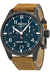 Alpina Startimer Pilot Chronograph Blue Dial Brown Leather Mens Watch AL-372N4FBS6