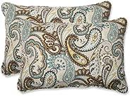 Pillow Perfect Outdoor Tamara Paisley Quartz Over-Sized Rectangular Throw Pillow, Set of 2