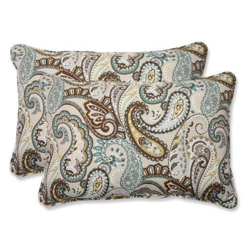 Pillow Perfect Outdoor Tamara Paisley Quartz Over-Sized Rect