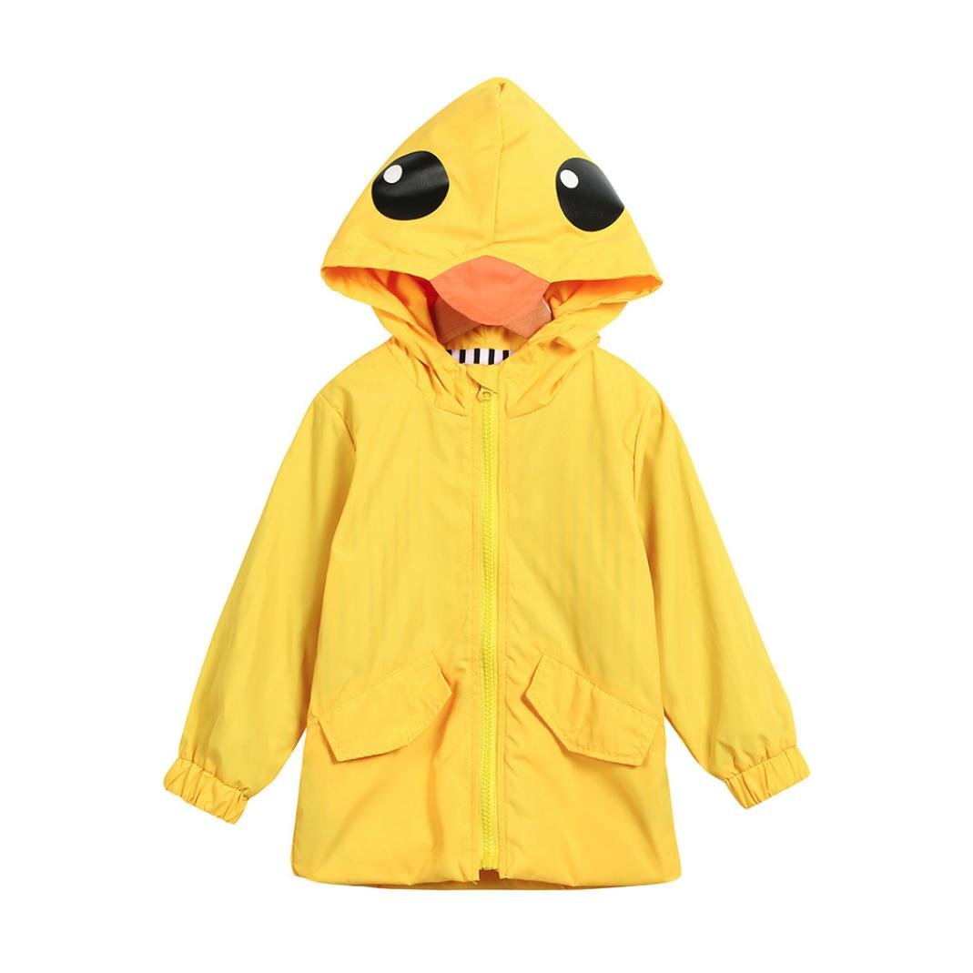 Kingko_ Unisex Kids Animal Raincoat Cute Cartoon Jacket Hooded Zip Up Coat Outwear Baby Clothes School Oufits