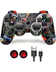 PS-3 Controller, PS-3 Controller Wireless,Play-Station 3 Controller, Wireless PS-3 Joystick Double Shock Gamepad Compatible for Play-Station 3 with Charger and Thumb Grips