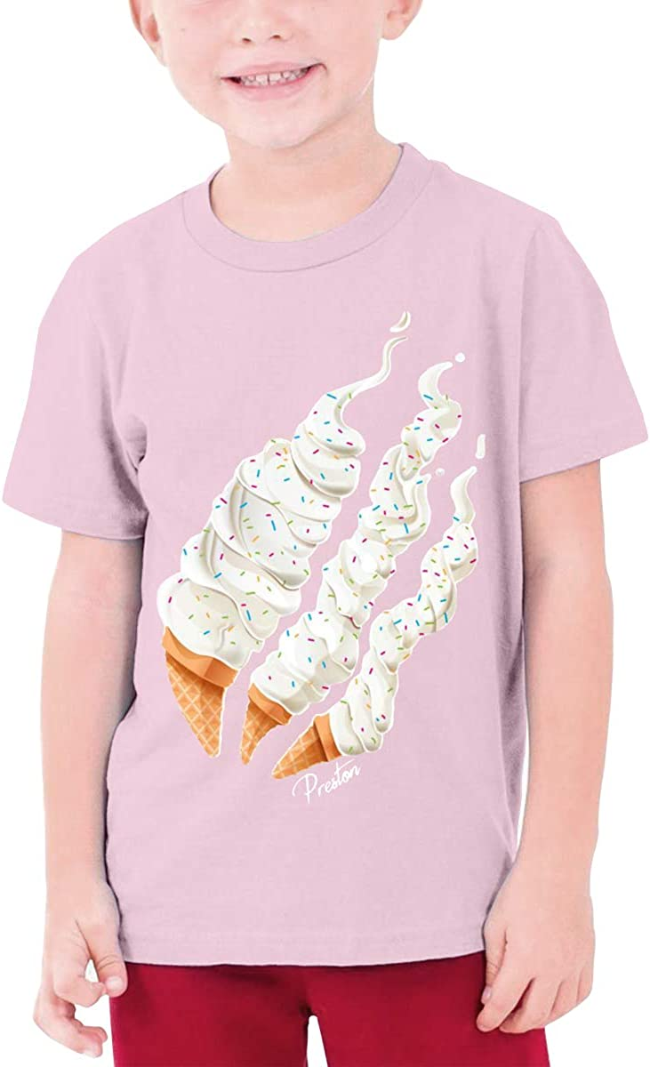 Cool Preston Playz Ice Cream T-Shirt Casual Cotton Short Sleve T-Shirt for Youth Boys Or Girls 6-16 Years