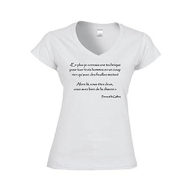 Mygoodprice T Shirt Femme Col V Citation Kaamelott Perceval Technique Feuilles Mortes