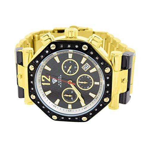 Real Diamond Aqua Master Watch having Black Dial & Bezel Octogon Face Jojo Jojino Sale New ()