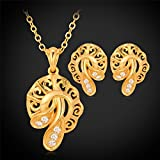 GDSTAR 18K Real Gold Plated Necklace Pendant Earrings Jewelry Set Rhinestone Vintage Jewelry Gift For Women