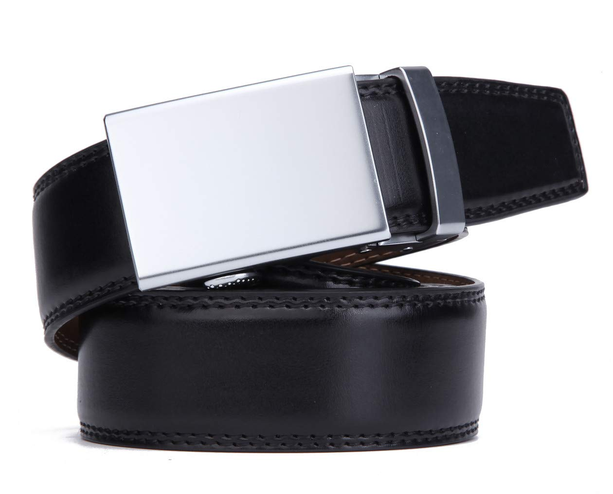 brown3, Up to 44 waist adjustable Mens Belt,Nelbons Slide Ratchet Belt for Men with Genuine Leather 1 3//8,Trim to Fit