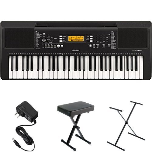 Yamaha PSR-E363 Portable Keyboard Bundle with Stand, Bench and Power Adapter
