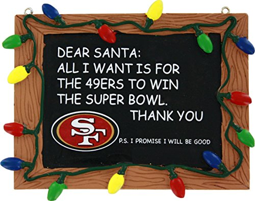 NFL Football Chalkboard Holiday Christmas Ornament - Pick Team (San Francisco 49ers)