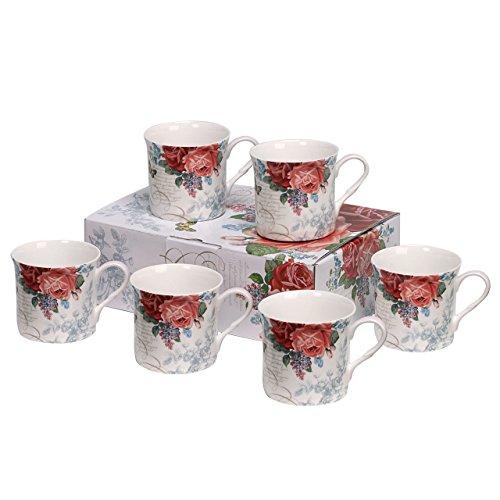 Heath McCabe Mugs Princess Postage Rose Fine Bone China 6 Mug Gift (Princess Postage)