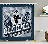 Ambesonne Movie Theater Shower Curtain, Vintage Cinema Poster Design with Grunge Effect and Old Fashioned Icons, Cloth Fabric Bathroom Decor Set with Hooks, 84 inches Extra Long, Blue Black Grey