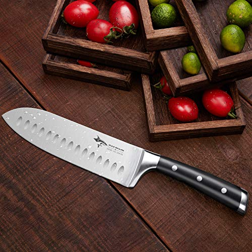 Santoku Knife - MAD SHARK Pro Kitchen Knives 7 Inch Chef's Knife, Best Quality German High Carbon Stainless Steel Knife with Ergonomic Handle, Ultra Sharp, Best Choice for Home Kitchen and Restaurant by MAD SHARK (Image #1)