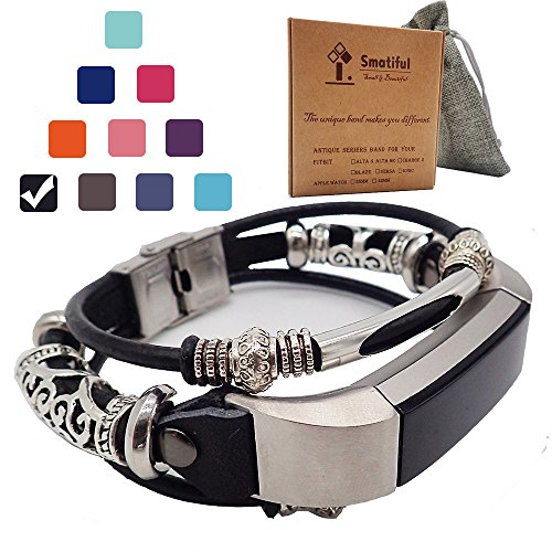 Smatiful Alta Bracelets with Box Sets for Adults (not for Toddlers and Teens), Extender Replacement Accessory Sport Straps with Clip Link for Fitbit Alta Hd Activity Tracker, Black_Smooth