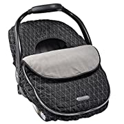 JJ Cole - Car Seat Cover, Weather Resistant Canopy to Protect from The Cold and Wind, Black Tri Stitch, Birth and up