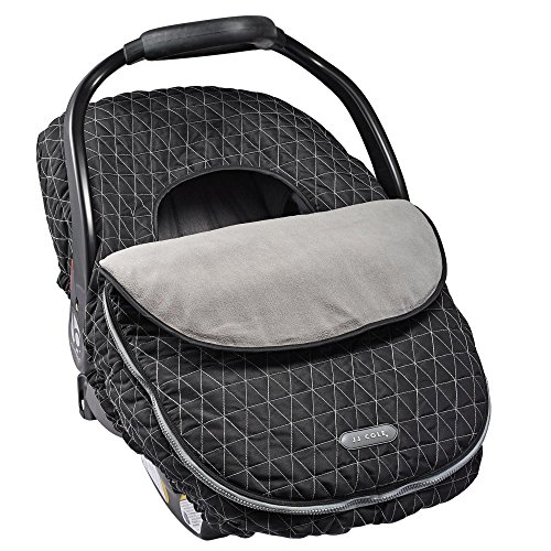 JJ Cole - Car Seat Cover, Weather Resistant Canopy to Protect from The Cold and Wind, Black Tri Stitch, Birth and (Seat Belt Outer Set)