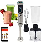 Cheap Mealthy Immersion Hand Blender: 500 Watt, 10 Speed Controls Plus Turbo, Includes 500mL Chopper and Whisk, and 600mL Smoothie Cup. Stainless Steel & BPA-free; Instant Access to Recipe App with Videos