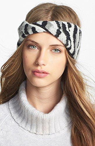 Diane von Furstenberg Women's Dyla Animal Headband, Black/White/Light Heather Grey, One Size
