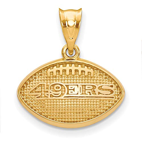 NFL Sterling Silver Gold-plated LogoArt San Francisco 49ers Football Pendant