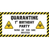 CY2SIDE 1st Birthday Quarantine Sign Banner, 48''x24'' Satin B-Day Hanging Banner with Rope, Caution Quarantine Area Sign Flag for Wall Decor, First B-Day Party Decoration for Baby Boys and Girls