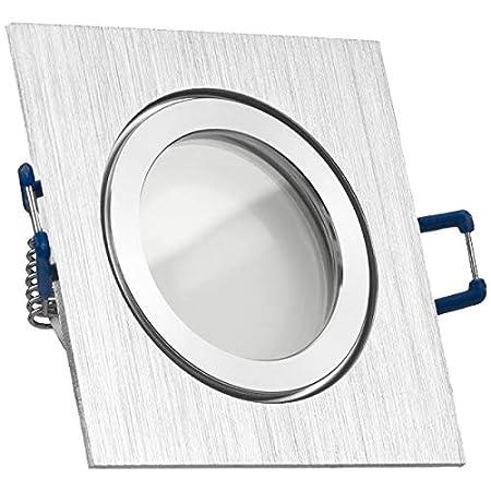 10er IP44 LED Einbaustrahler Set Bicolor (chrom / gebürstet) mit LED GU10 Markenstrahler von LEDANDO - 5W - warmweiss - 120° Abstrahlwinkel - Feuchtraum / Badezimmer - 35W Ersatz - A+ - LED Spot 5 Watt - Einbauleuchte eckig