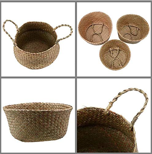 (Clearance Sale! Eco-Friendly Seagrass Baskets Handmade for Home & Decoration Natural Color for Storage, Laundry, Picnic, Plant Pot Cover, and Beach Bag (Large, Natural))