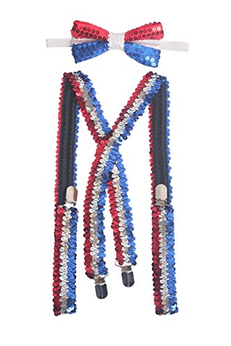 Felizhouse US Patriotic Suspenders and Pre-Tied Bowtie Set Costume for Men Boys (American Flag Color (National Costume Usa Children)