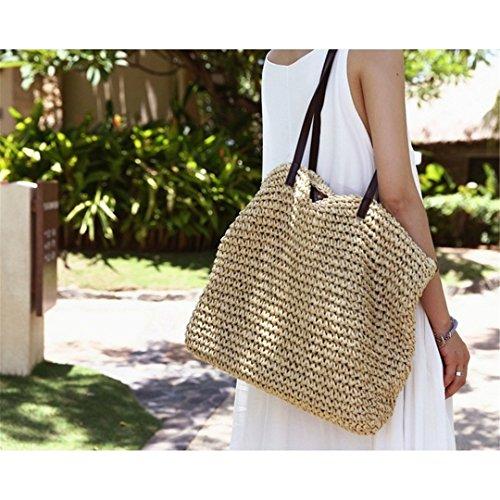 Bag Bags Beach coffee Woven Durable Straw Casual Hobos Handbags Feminine Bag Summer Tote Knitting dark Rattan Women Weave Grass Bucket Linen AnqIW8XT