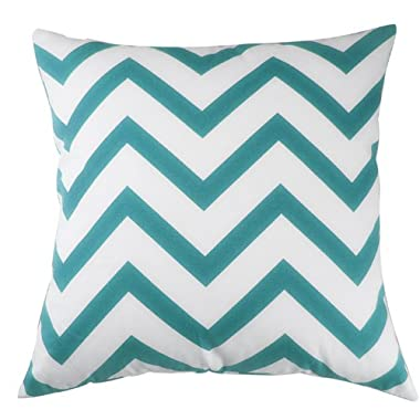 Decorative Throw Pillow Cover Canvas Cotton Chevron Design 18 X 18 in. (Aqua Blue)
