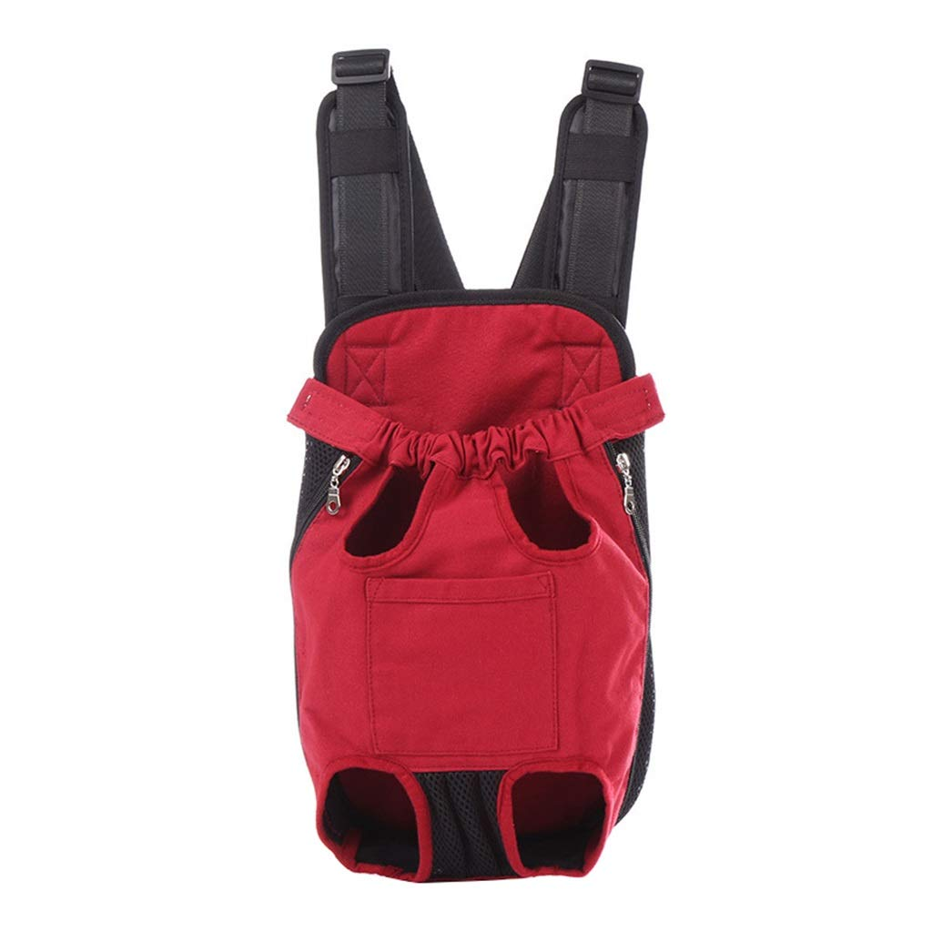 M(23.5KG) Pet Denim Front Kangaroo Pouch Dog Carrier, Puppies Cats Canvas Mesh Chest Carrier for Carrying Wide Straps with Shoulder Pads (Red)