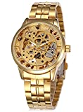 Men's Steampunk Luminous hand Gold Stainless steel Skeleton Mechanical Waterproof Automatic watches Gift Box CH521GL