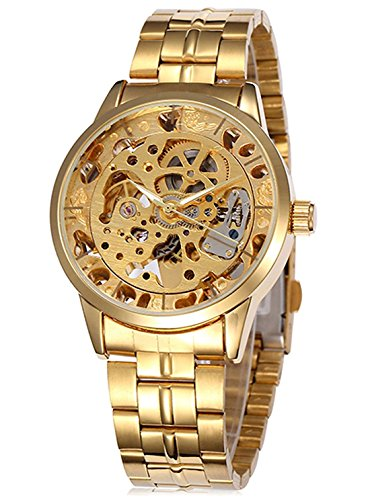 Men's Steampunk Luminous hand Gold Stainless steel Skeleton Mechanical Waterproof Automatic watches Gift Box CH521GL ()