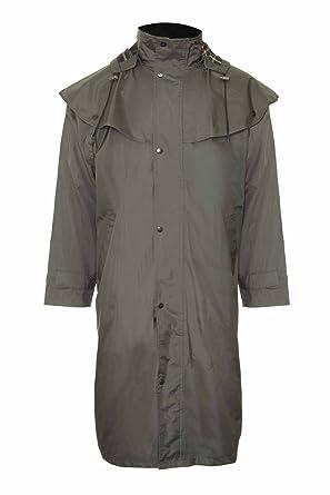 Mens Long Full Length Waterproof Riding Rain Coat OLIVE GREEN SIZE L B00CFNH2JW