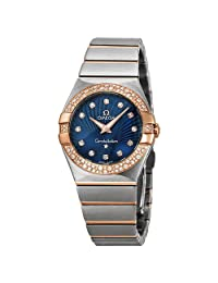 Omega Constellation Diamond Blue Dial Rose Gold and Steel Ladies Watch 123.25.27.60.53.001