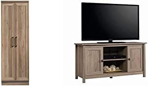 Sauder HomePlus Storage Cabinet, Salt Oak Finish & County Line Panel TV Stand, for TVs up to 47