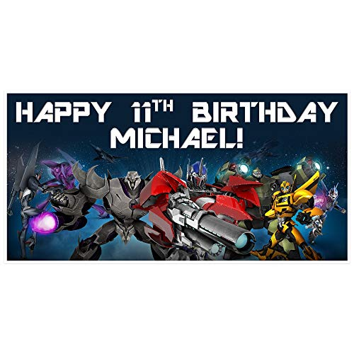 (Transformers Birthday Banner Personalized Party Backdrop)