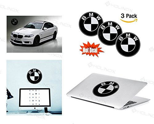 BMW Logo Stickers Decal - Set of 3 Decals - Capital Resolution, Superior Finish and Transparent Background - Ideal for Car, Motorcycle, Laptop, Macbook, iMac, Windows and Wall Art
