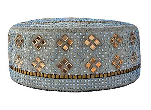 (Men's Caps Koofi Kufi Solid Hat Handmade Stone Prayer Cap Size Fits 21-24 Inch (Mint Green))