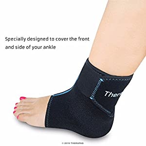 Foot & Ankle Ice Wrap with Hot & Cold Gel Pack by TheraPAQ | Adjustable Brace, Multi-Purpose, Microwaveable, Freezable and Reusable (XS-XL)