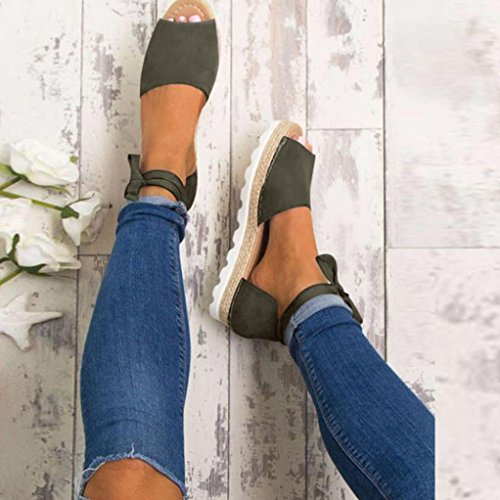 Sandalias y Moda Bailarinas Elegante Y Alpargatas con De ASHOP Cuero Chanclas Gris Playa Cordones Verano de Cómodo Cordones Zapatillas Zapatos Bohemia Las Planas Sandalias Mujer de fqSwUdF