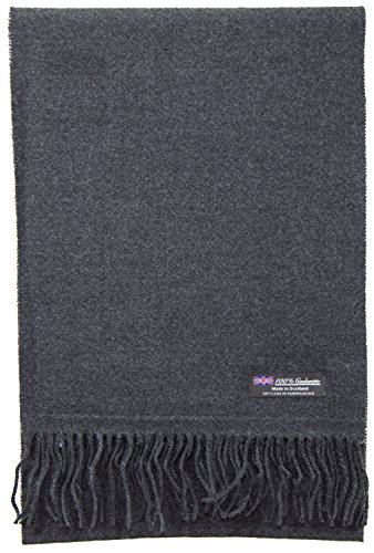 2 PLY 100% Cashmere Scarf Elegant Collection Made in Scotland Wool Solid Plaid Men Women (Solid Charcoal)