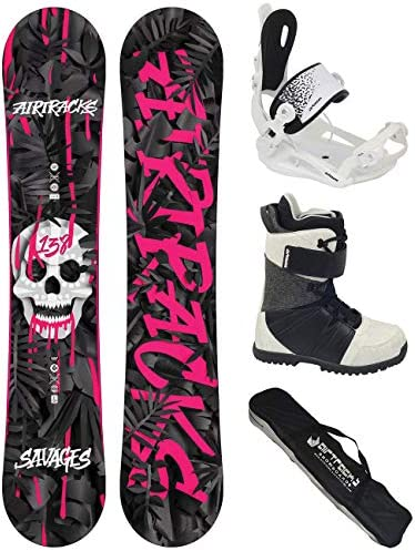 Airtracks Damen Snowboard Set - Savage Lady Snowboard Rocker + Snowboardbindung Master W FASTEC + Snowboardboots + Sb Bag / 138 144 148 cm