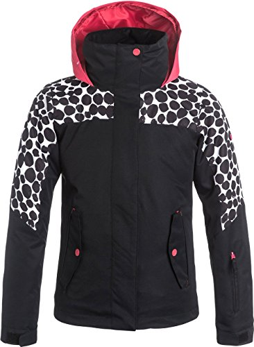 Roxy Big Girls' Jetty Colorblock Snow Jacket, True Black, - For Sale Jetty