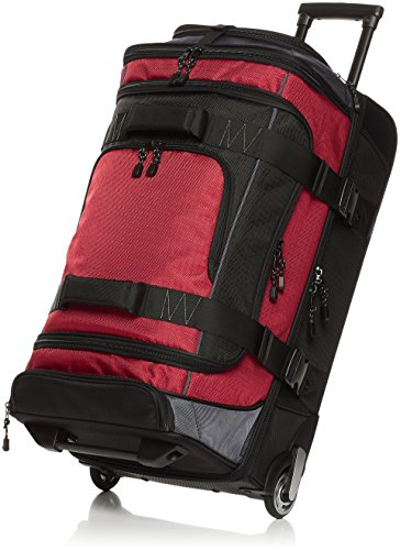 AmazonBasics Ripstop Rolling Travel Luggage Duffle Bag With Wheels - 28 Inch, Red
