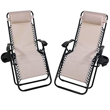 Sunnydaze Beige Zero Gravity Lounge Chair with Pillow and Cup Holder, Set of Two