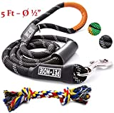 5 FT Strong Dog Leash Rope & Chew Resistant Toy, Mountain Climbing Lead (BLACK) with Comfortable Padded Handle and 3 Reflective Threads for Medium and Large Dogs – Suitable for Training and Walking