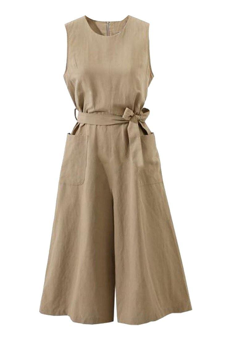 FSSE-Women Cotton Linen Wide Leg Palazzo Lounge Pants Sleeveless Loose Fit Belted Jumpsuit Romper