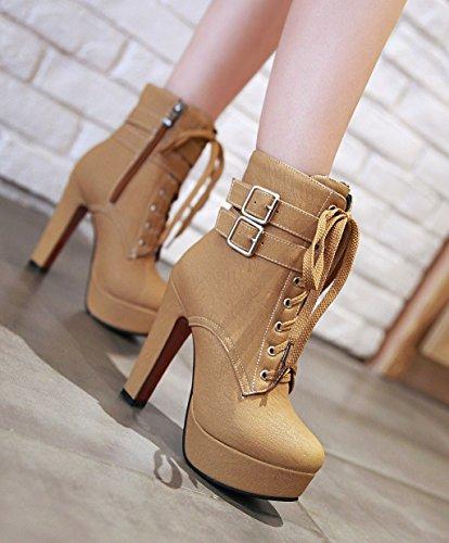 2ba078def8bd40 ... YE Damen Blockabsatz Ankle Boots High Heels Gefütterte Stiefeletten  Plateau mit Schnürsenkel Reißverschluss und Schnalle Elegant